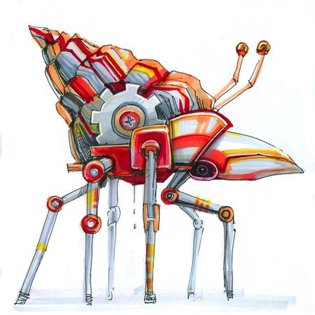 mechanical snail red steampunk