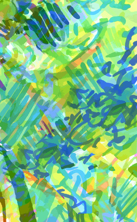 green, yellow, blue background of strokes, scribbles, marker Illustration