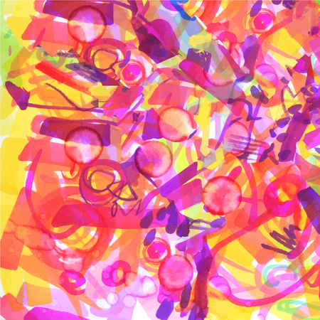 bright pink red yellow neon expressive hand maid background of strokes, scribbles, colored markers, mash from childrens hand-writing