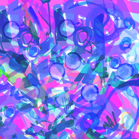 bright pink blue neon background of strokes, scribbles, marker. vector