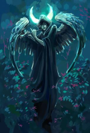 gloomy flutist with angel wings under the moon 免版税图像