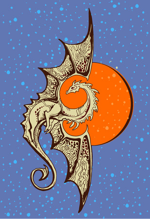 symbol dragon with a background of the orange sun 写真素材