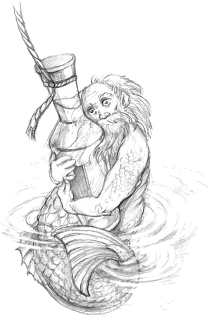 water old man covered with scales holds a bottle in the sea Ilustração