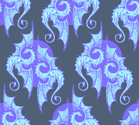 seamless pattern. blue dragons. Cold illusive gothic texture