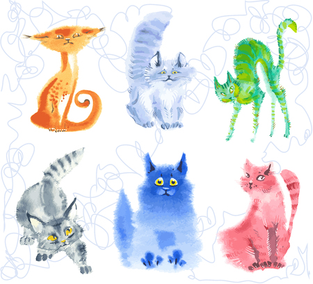 aqurella. watercolor emotional curious kittens in style of the handdraw