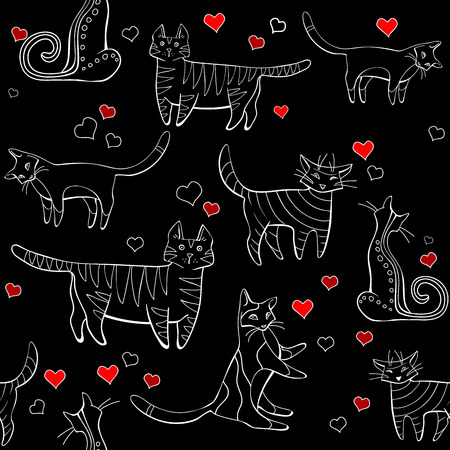 wall-paper, group of different cats on a black background in different poses with hearts  イラスト・ベクター素材