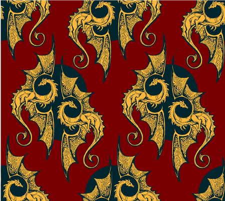 Seamless background with gold dragons. for the heroic saga or the knightly epos