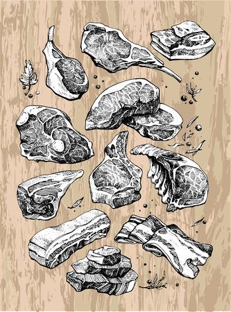 les produits carnés sont en noir et blanc sur fond de bois