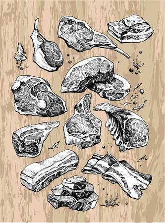 meat products are black and white on the background of wood Illusztráció