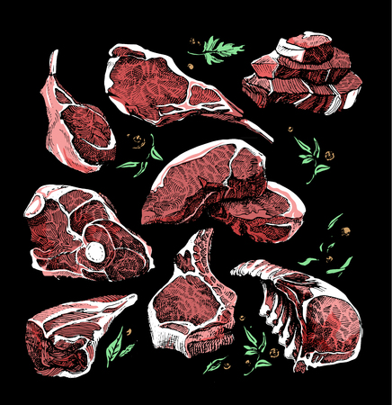 meat products, steak, ribs on the dark background