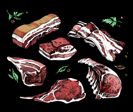 Color sketch of different pieces of smoked meat, corned beef