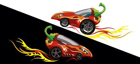 childrens drawing with a cartoon car made of pepper