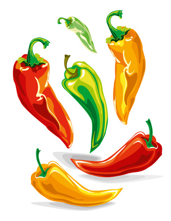 a variety of colorful chili peppers