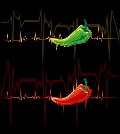 The cardiogram symbolizes the pulse and energy, awakened by the peppers sharp taste