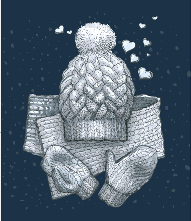 cozy winter sketch with knitted a scarf, mittens and a hat with a pompon, on blue background