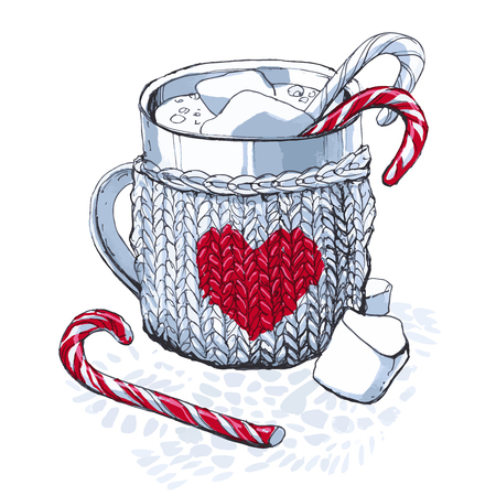 sketch with a gray knitted mug with marshmallow and candy cane 矢量图像