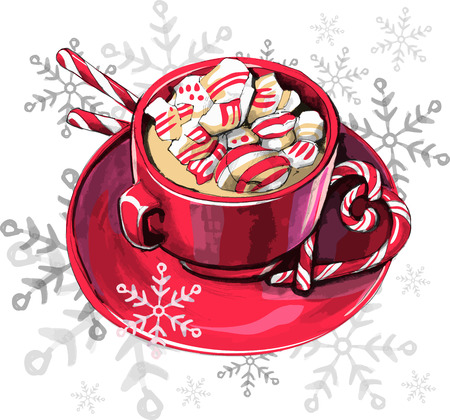 red mug with a drink with marshmallows and mint candies with a cane on the background of snow