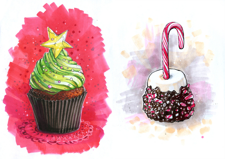 Christmas cupcakes with a green Christmas tree and candy cane 写真素材