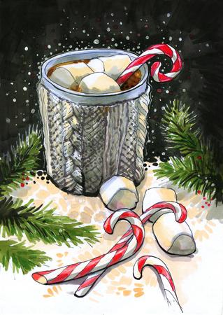a knitted gray mug, night, fir branches 写真素材