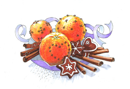 oranges cinnamon and cookies christmas still life