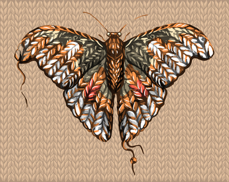 a sketch of a knitted butterfly, moth, from a thick woolen thread. lively and warm illustration in brown tones. winter memories of summer