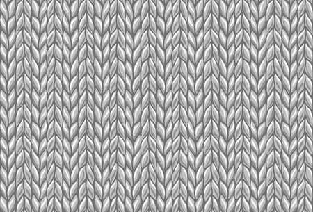 knitted wool background pattern. gray vector draw Illustration