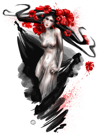 girl with poppies in her hair. horoscope Taurus. 写真素材