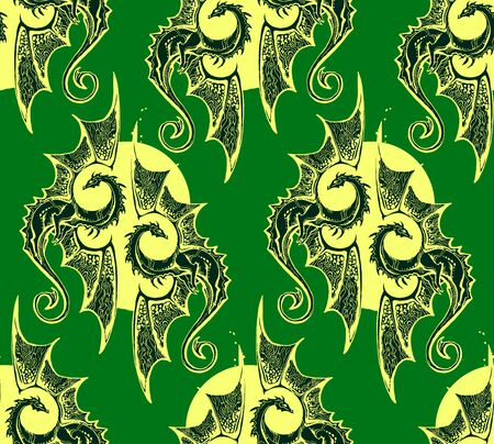 Green background with winged dragons warm circle