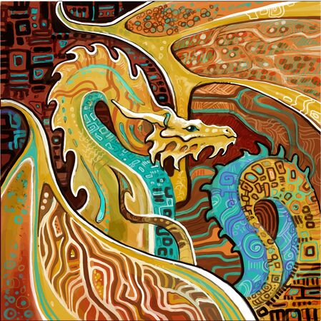 dragon ornamental in the style of Klimt