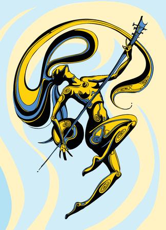 Chica de pelo largo bailando con un sintar sobre un fondo de color azul y amarillo