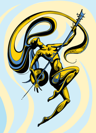 longhair girl dancing with a sintar on a background with a blue and yellow color Illustration
