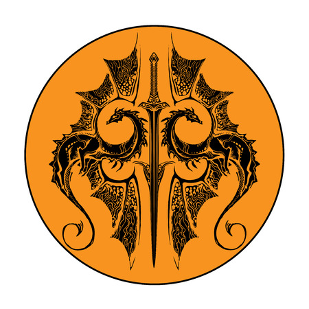two dragons and sword on the orange background