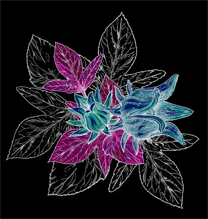 Hand drawn watercolor seamless pattern with colorful tropical flowers hibiscuses and leaves on the black background