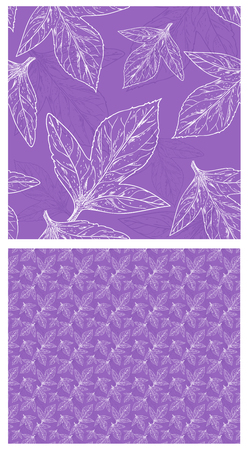 triple leaves on a gentle lilac background. 2 eco patterns large and small