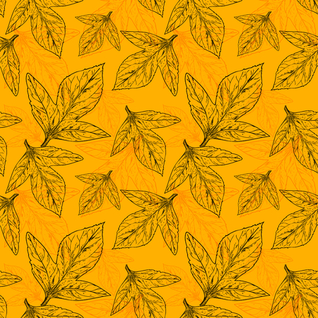Summer seamless pattern plant leaves