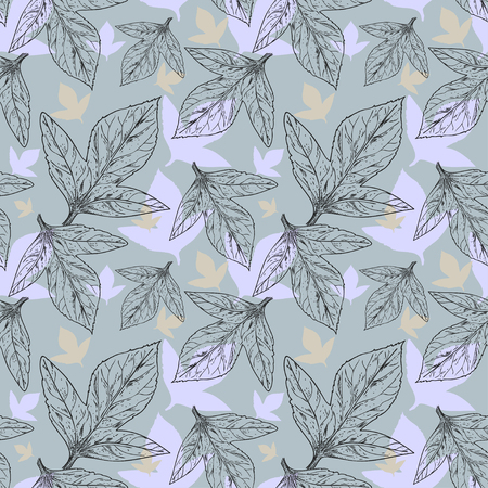 discreet seamless pattern with triple leaves in shades of gray gold