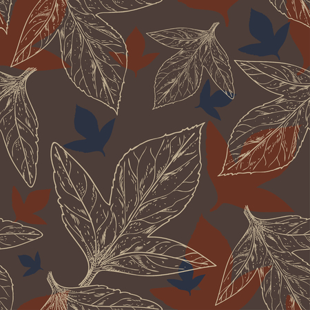 pattern of leaves in a dark red-brown tones, a rich suite for wrapping and elements of corporate identity