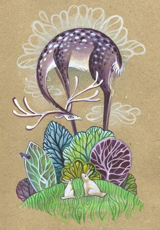 purple deer over the fabulous forest. childrens fairy illustration