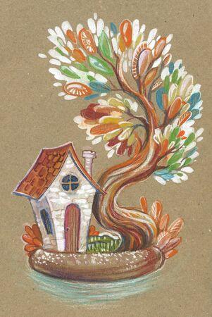 Little fairy house in a flower pot. Bansai in the yard.