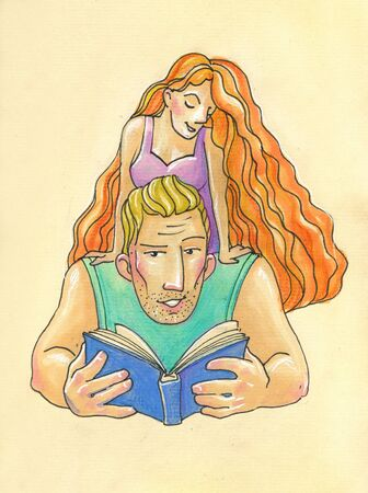 Illustration in cartoon style. big strong man and his little fragile woman. big man, blond reads woman a book 免版税图像