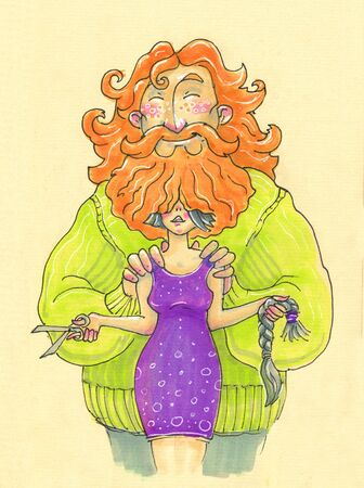 Illustration in cartoon style. big bearded man and woman who cut off hair Standard-Bild - 132083323