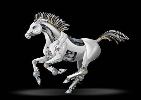 a mare made of metal and plastic. mechanical galloping gallop