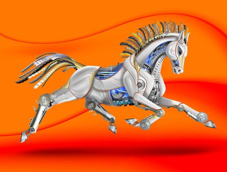 a mare made of metal and plastic. mechanical galloping. orange background