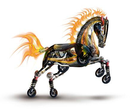 robot cyberpunk cavallo meccanico da ricambi auto