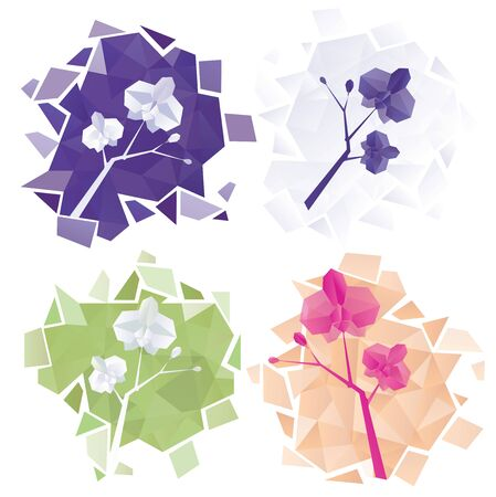 paper orchids. light abstact splinters geometry. origami