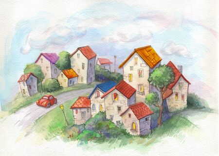 Watercolor town. Adorable childish illustration in retro style