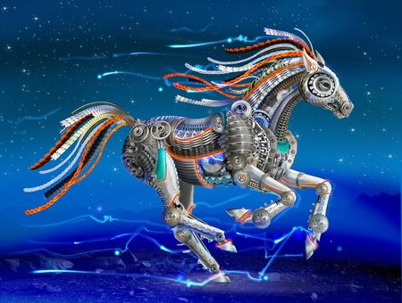 bright horse robot from mechanical parts. cyberpunk