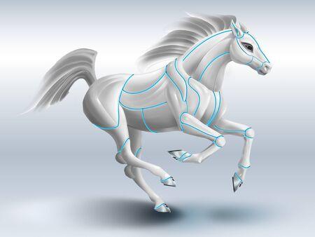 cavallo robot, realizzato in plastica detali. la potenza delle tecnologie informatiche e del web Archivio Fotografico