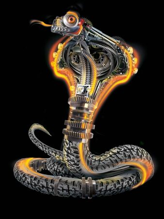 black cyberpunk, metal and rubber mechanical snake - fire cobra
