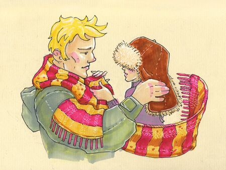 Illustration in cartoon style. big strong man and his little fragile woman caring, warm relationship, winter scarf